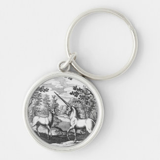 Unicorn and Stag - White keyrings Silver-Colored Round Keychain