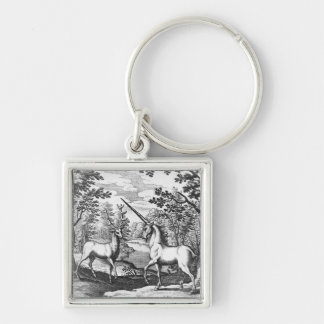 Unicorn and Stag - White keyrings Silver-Colored Square Keychain