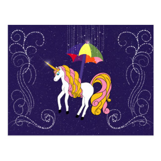 Unicorn and Umbrella Whimsical Cartoon Art Post Card