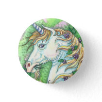 UNICORN AND VIOLETS, FANTASY HORSE BUTTON Pin