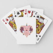 Unicorn angel pig in flower heart Zzvrv Playing Cards