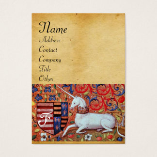 UNICORN / Antique Brown Parchment Monogram Business Card