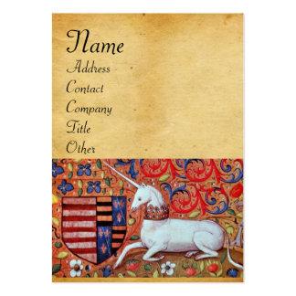 UNICORN / Antique Brown Parchment Monogram Large Business Card