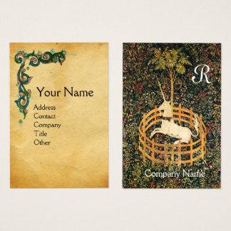 UNICORN /Antique Floral Brown Parchment Monogram Business Card