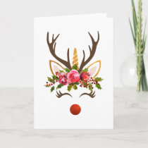 Unicorn Antler / Christmas Flowers Holiday Card
