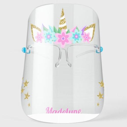Unicorn Aqua Flowers Gold Glitter Stars Name Face Shield