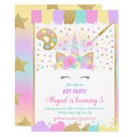Unicorn Art Party Birthday Invitation, Unicorn Invitation