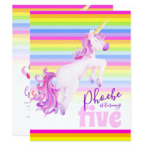Unicorn art rainbow 5th birthday invitations