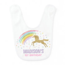 Unicorn Baby Bib Pink Gold Birthday Baby Bib