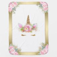 Unicorn Baby Blanket Pink Gold