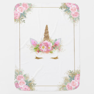 Unicorn Baby Blanket Pink Gold Baby Blanket
