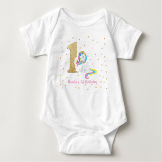 Unicorn Baby Girl Bodysuit One Piece 1st Birthday