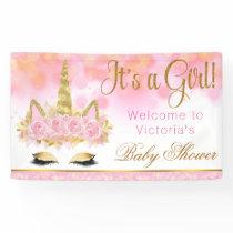 Unicorn Baby Shower Banner Pink Gold