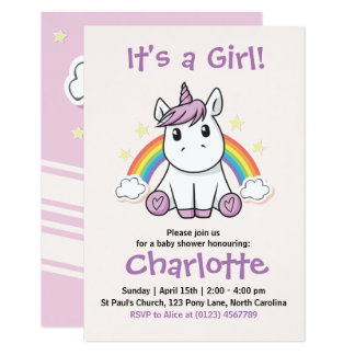 Unicorn Baby Shower Invitations Amp Announcements Zazzle