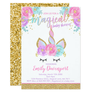Unicorn Baby Shower Invitations Zazzle