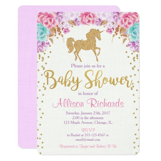 Unicorn baby shower invitation pink and gold Zazzlecom