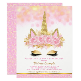Unicorn Baby Shower Invitations Pink Gold Unicorn