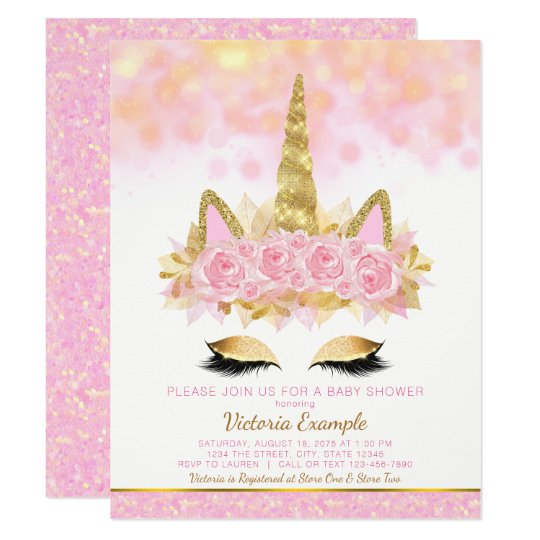 Unicorn Baby Shower Invitations Pink Gold Unicorn Zazzle Com