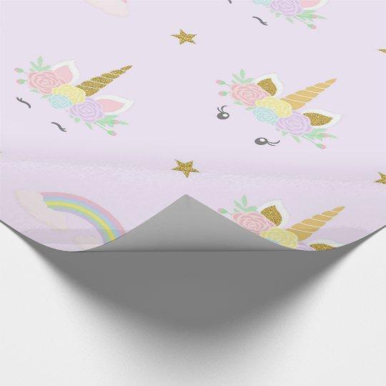 Unicorn Baby Shower Wrapping Paper Zazzle