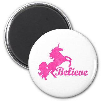 Unicorn, Believe 2 Inch Round Magnet