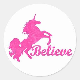 Unicorn, Believe Classic Round Sticker