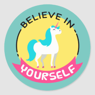 "Unicorn ""Believe in yourself"" motivational drawing Classic Round Sticker"