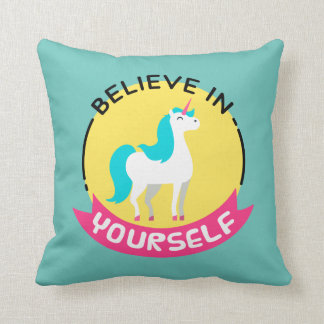 """Unicorn """"Believe in yourself"""" motivational drawing Throw Pillow"""