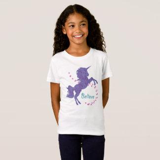 Unicorn Believe Purple Pink Faux Glitter Effect T-Shirt