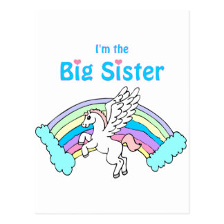 unicorn big sister postcard