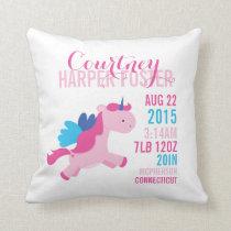 Unicorn Birth Announcement Nursery Pillow