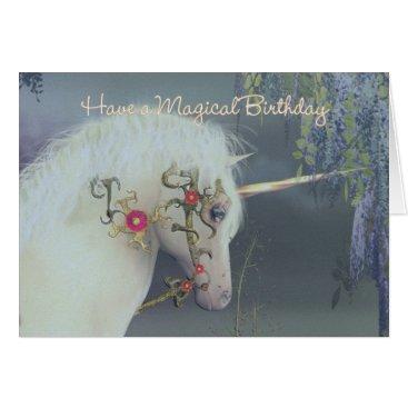 Valentines Themed Unicorn Birthday Card Magical Birthday