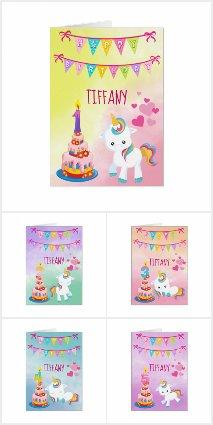 Unicorn Birthday Cards