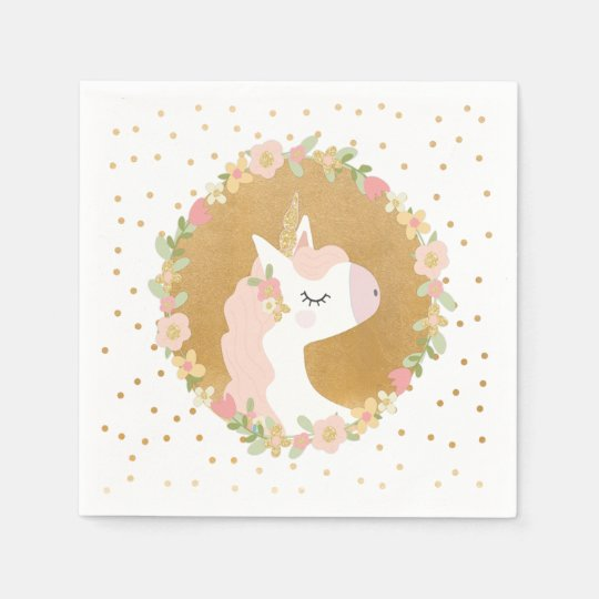 Unicorn Birthday Decor Pink Gold Confetti Napkin