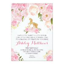 Unicorn birthday FIRST Floral Invitation, Card