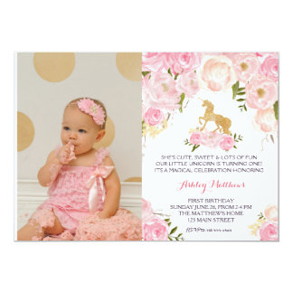 Unicorn birthday  FIRST Floral Invitation, Card