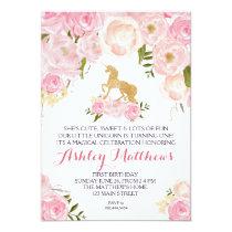 Unicorn birthday FIRST Floral Invitation, Invitation