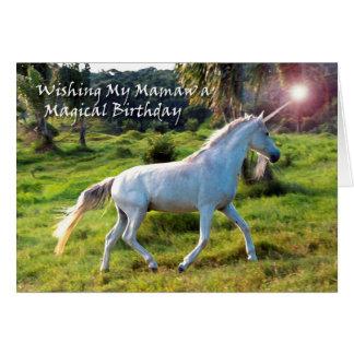 Unicorn, Birthday for Mamaw, Magical Dream Card