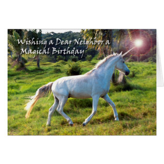 Unicorn, Birthday for Neighbor, Magical Dream Card