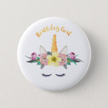 Unicorn Birthday Girl Button