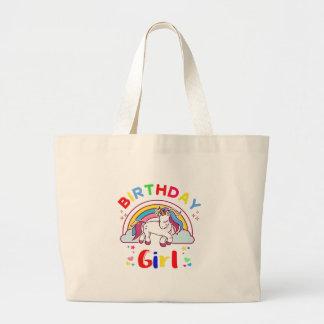 Unicorn Birthday Girl Large Tote Bag