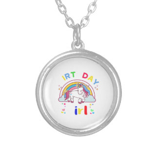 Unicorn Birthday Girl Silver Plated Necklace