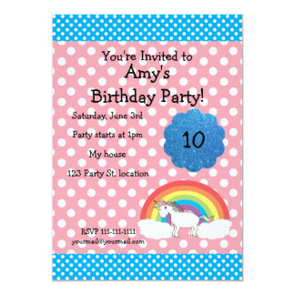 "Unicorn birthday invitation 5"" x 7"" invitation card"