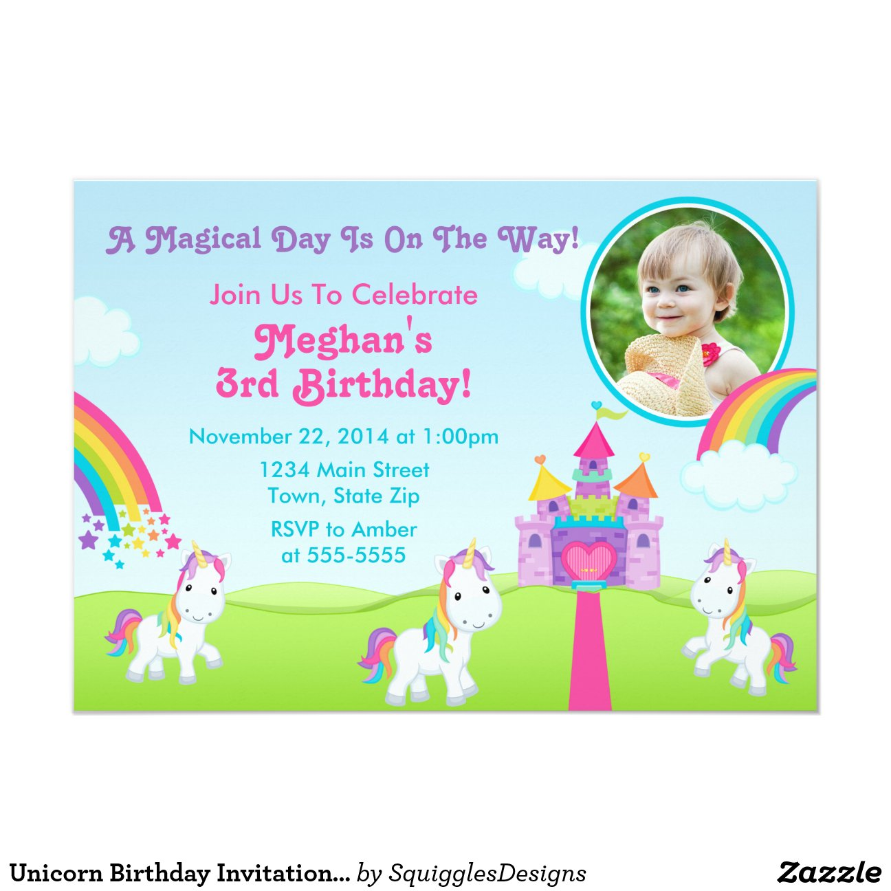 Unicorn Birthday Invitation for adorable invitations template
