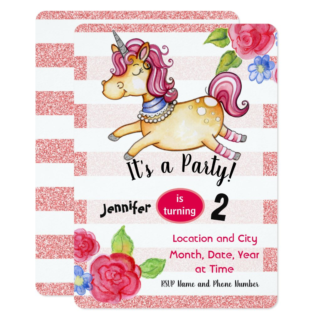 Unicorn Birthday Invitation Editable Card Pink