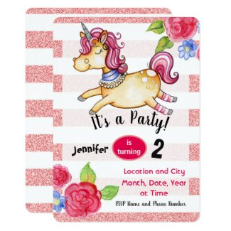 Valarie wade art and design newest design super 80s unicorn unicorn birthday invitation editable card pink stopboris Choice Image
