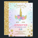 "Unicorn Birthday Invitation Pink Gold Magical<br><div class=""desc"">♥ A perfect way to invite your guests to your little one&#39;s birthday party! With a unicorn theme for a magical party!</div>"