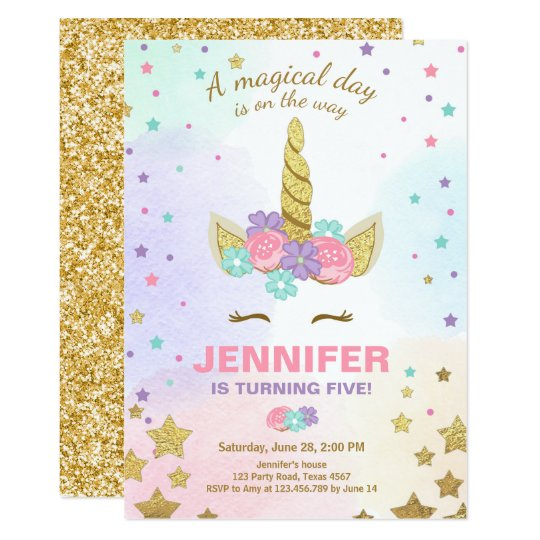 Unicorn Birthday Invitation Pink Gold Magical Zazzle Com