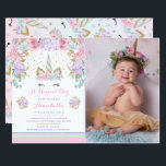 "Unicorn Birthday Invitation Pink Gold Unicorn<br><div class=""desc"">Floral Unicorn Birthday Invitation! A perfect Way to announce your Magical Unicorn Party. 