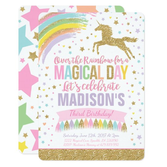 Unicorn Birthday Invitation Pink Gold Unicorn Zazzlecom