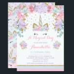 "Unicorn Birthday Invitation Pink Gold Unicorn<br><div class=""desc"">Floral Unicorn Birthday Invitation! A perfect Way to announce your Magical Unicorn Party.  Designs are all &#169; PIXEL PERFECTION PARTY LTD</div>"
